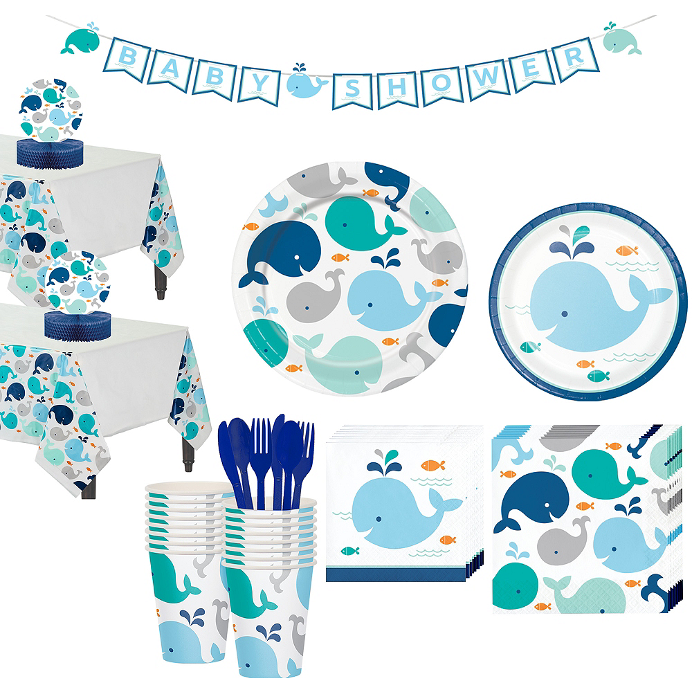 Blue Baby Whale Premium Baby Shower Tableware Kit for 32 Guests Image #1