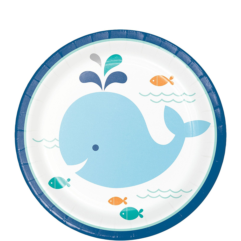 Blue Baby Whale Premium Baby Shower Tableware Kit for 32 Guests Image #2