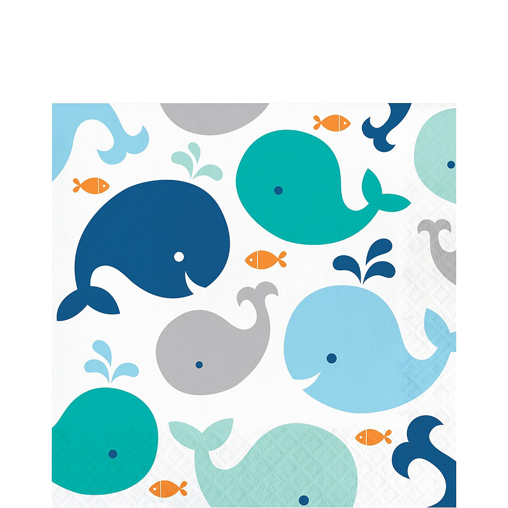 Blue Baby Whale Premium Baby Shower Tableware Kit for 32 Guests Image #5