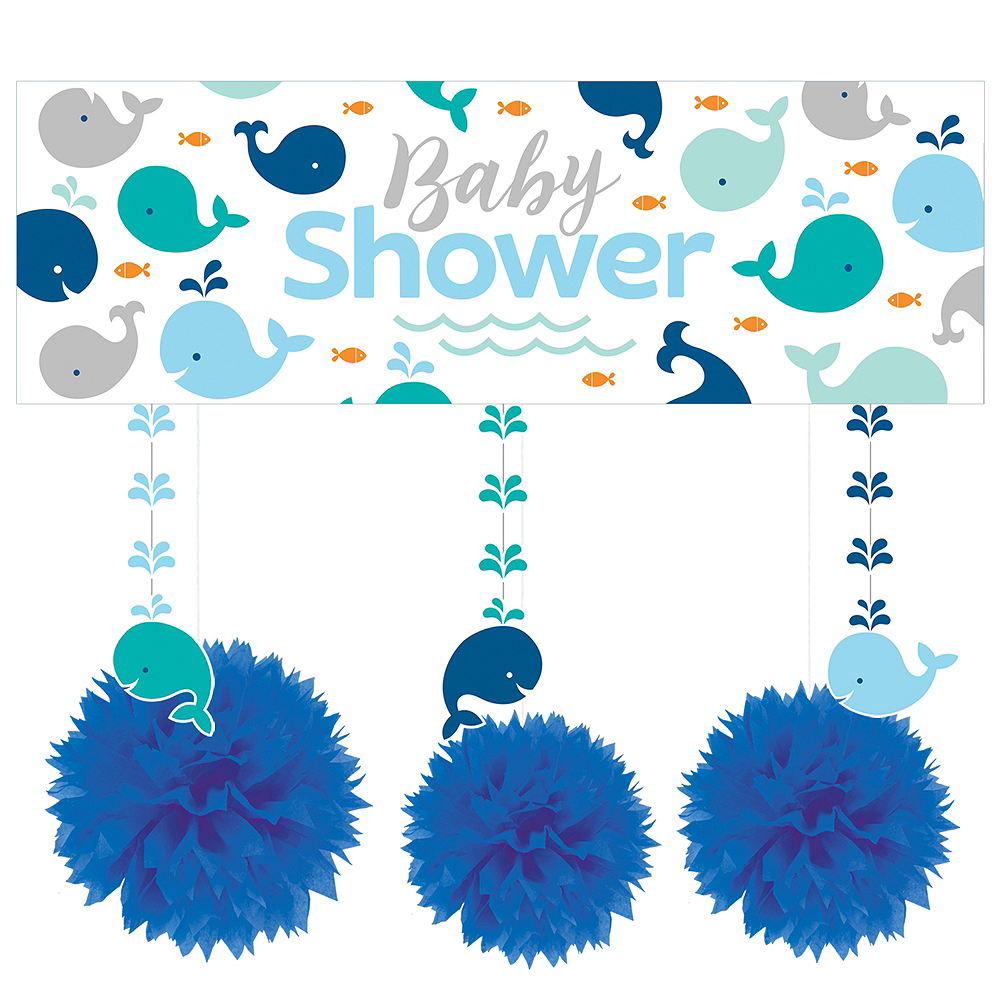 Blue Baby Whale Decorations Shower Kit Image #1