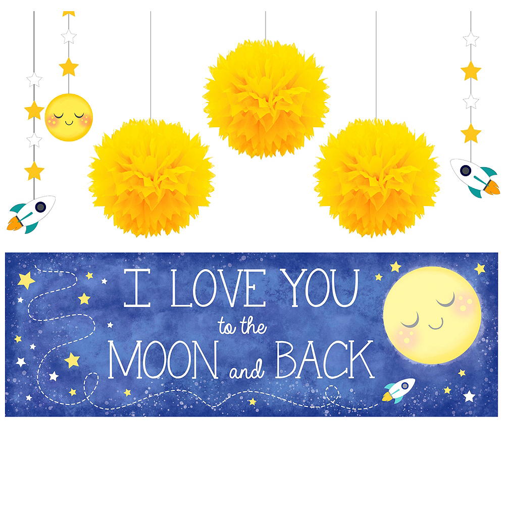 Moon & Stars Sunshine Yellow Decorations Shower Kit Image #1