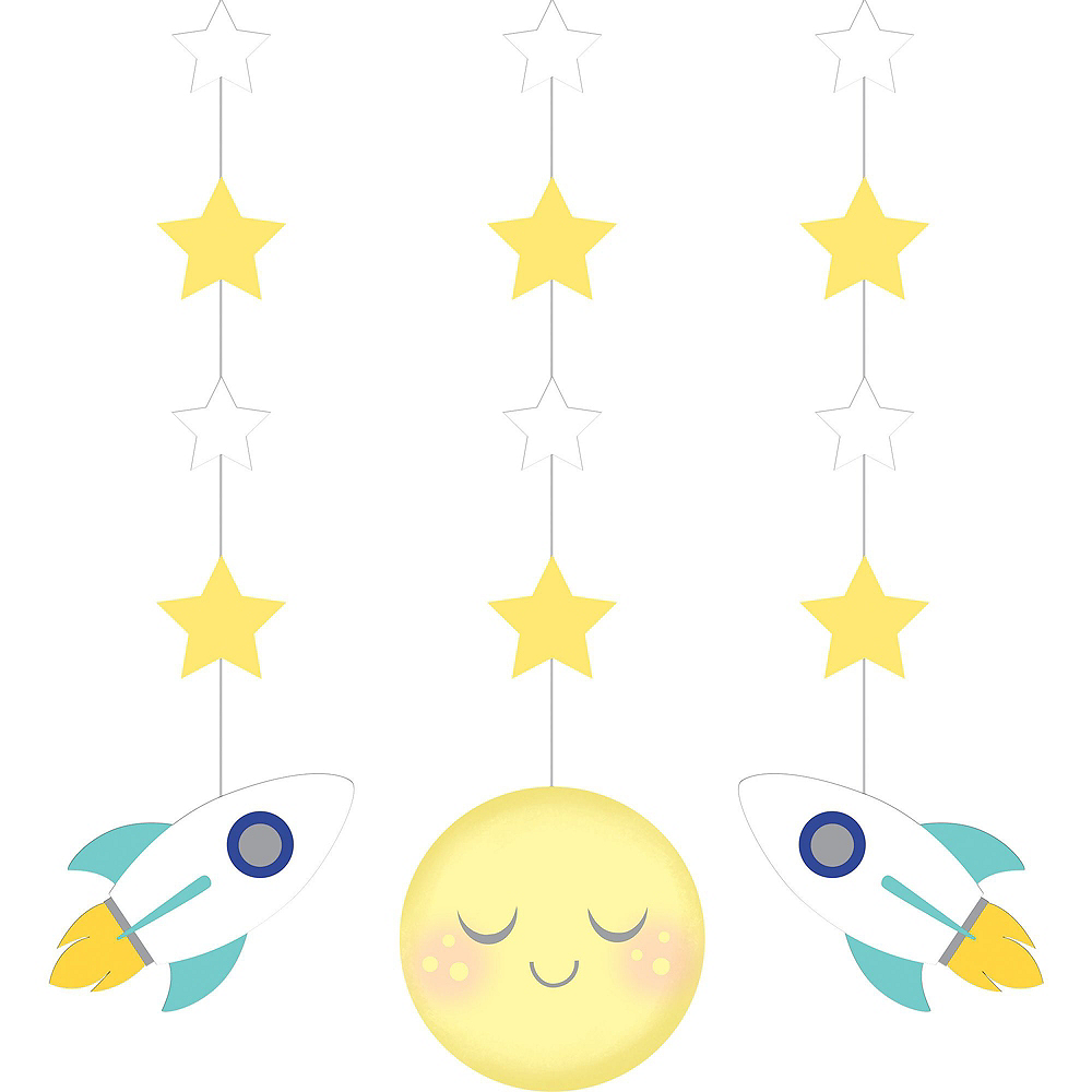 Moon & Stars Sunshine Yellow Decorations Shower Kit Image #2