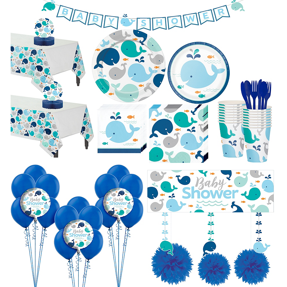 Blue Baby Whale Premium Baby Shower Party Kit for 32 Guests Image #1