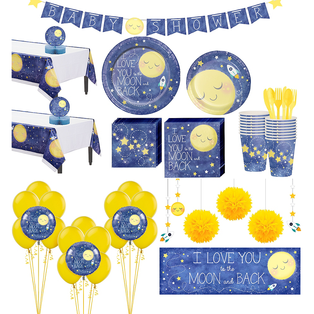 Moon & Stars Premium Baby Shower Party Kit for 32 Guests Image #1