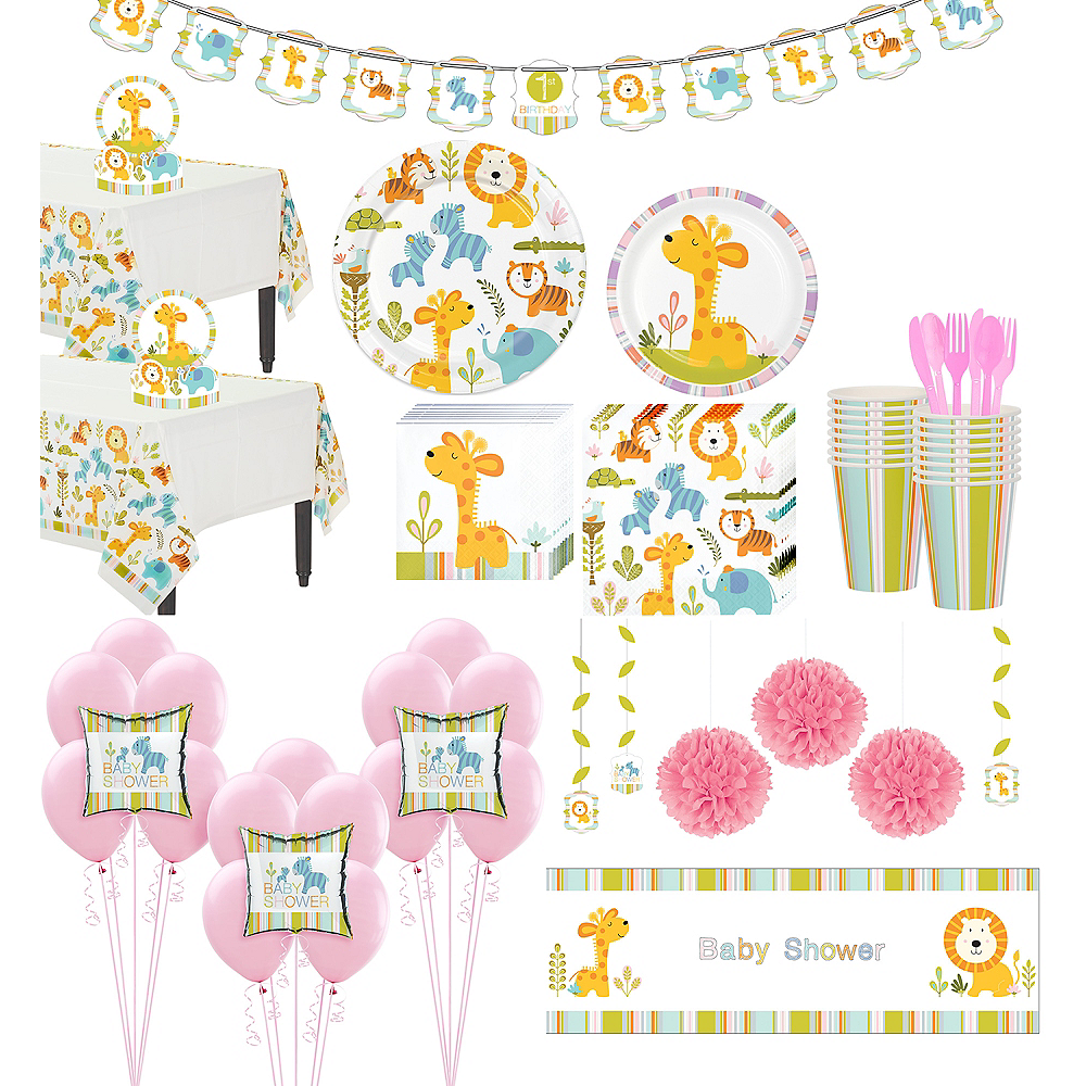 Happy Jungle Giraffe Premium Baby Shower Party Kit for 32 Guests Image #1