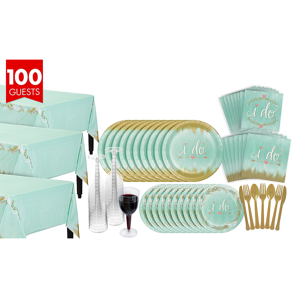 Mint To Be Bridal Shower Tableware Kit for 100 Guests Image #1
