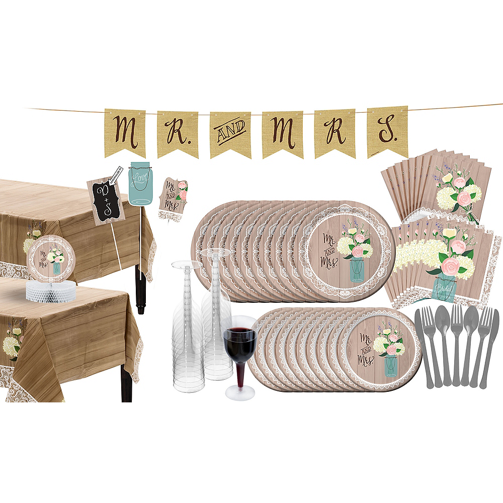 Rustic Wedding Bridal Shower Tableware Kit for 32 Guests Image #1