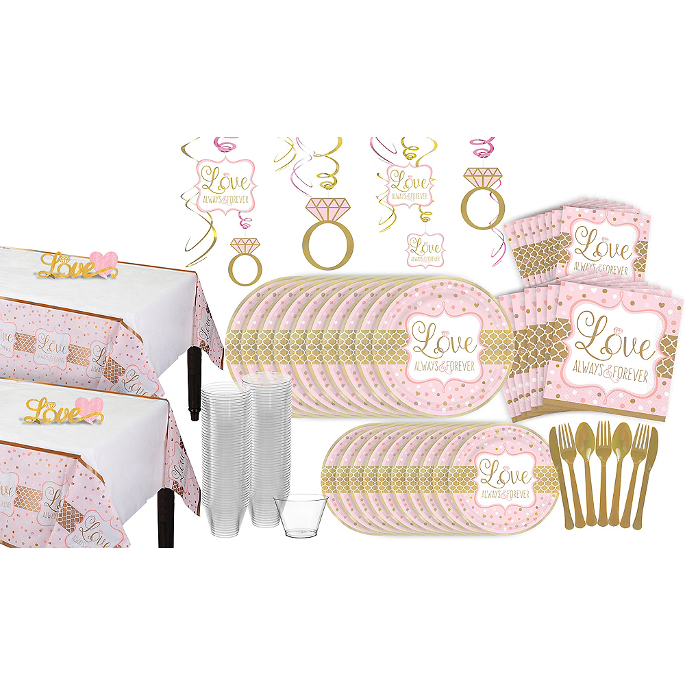 Sparkling Pink Wedding Bridal Shower Tableware Kit for 32 Guests Image #1
