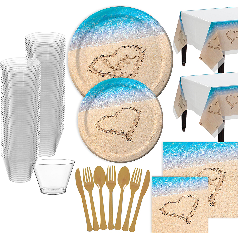 Beach Love Wedding Bridal Shower Tableware for 32 Guests Image #1
