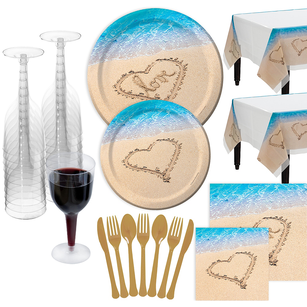 Beach Love Wedding Bridal Shower Tableware Kit for 100 Guests Image #1