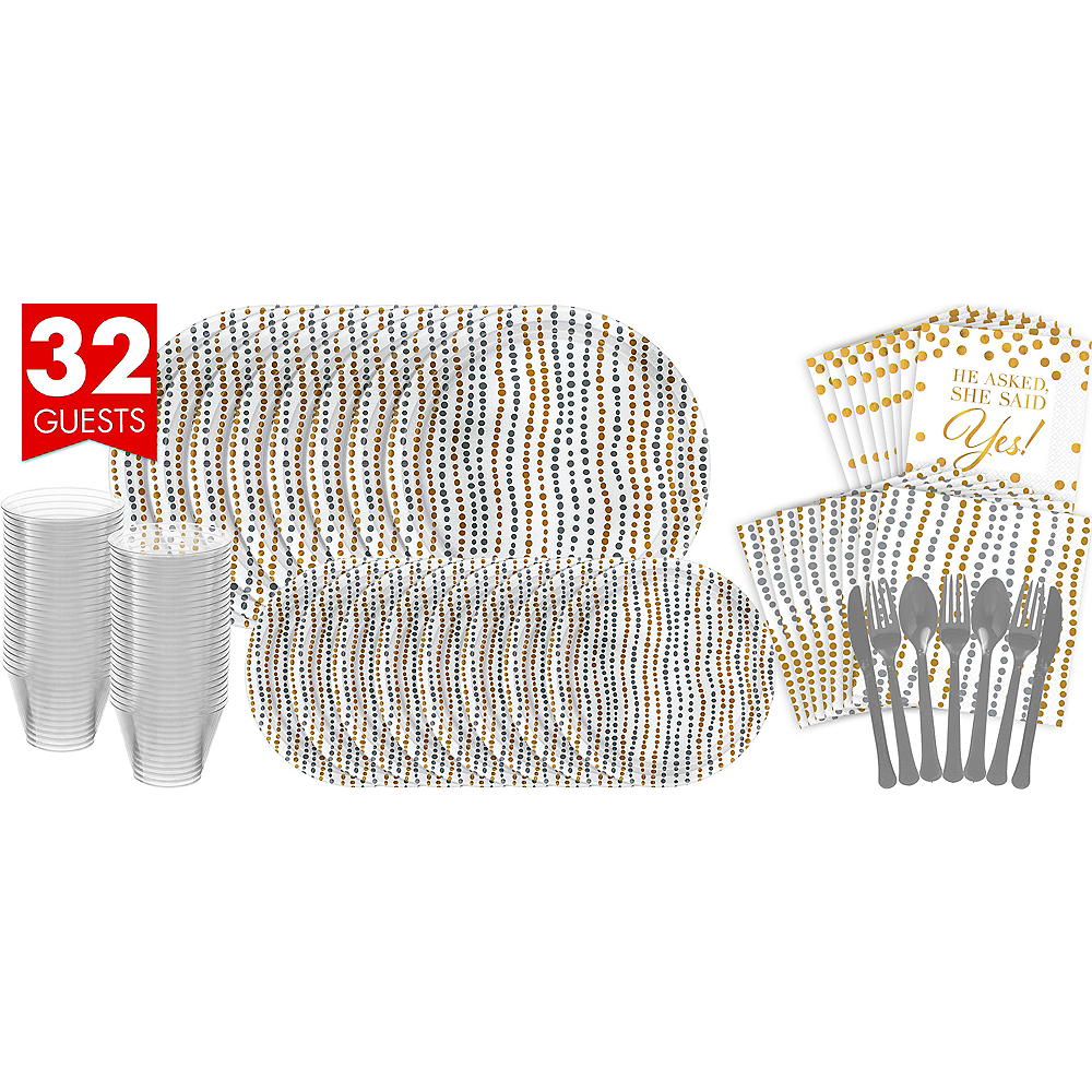 Metallic Silver & Gold Wavy Dots Bridal Shower Tableware Kit for 32 Guests Image #1
