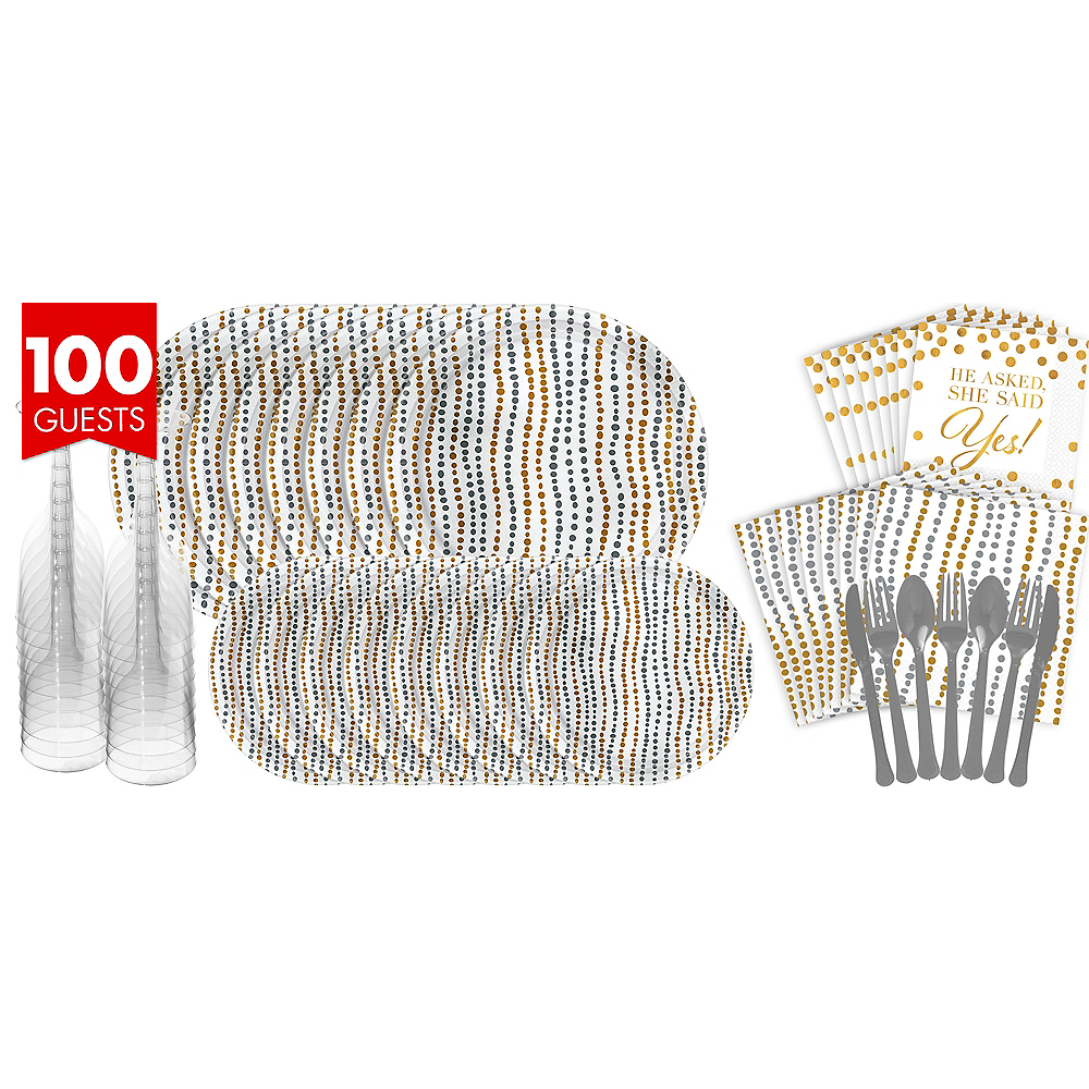 Metallic Silver & Gold Wavy Dots Bridal Shower Tableware Kit for 100 Guests Image #1