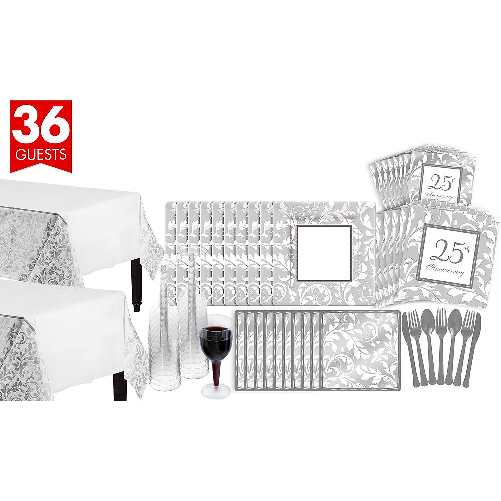 Silver Wedding Bridal Shower Tableware Kit for 36 Guests Image #1