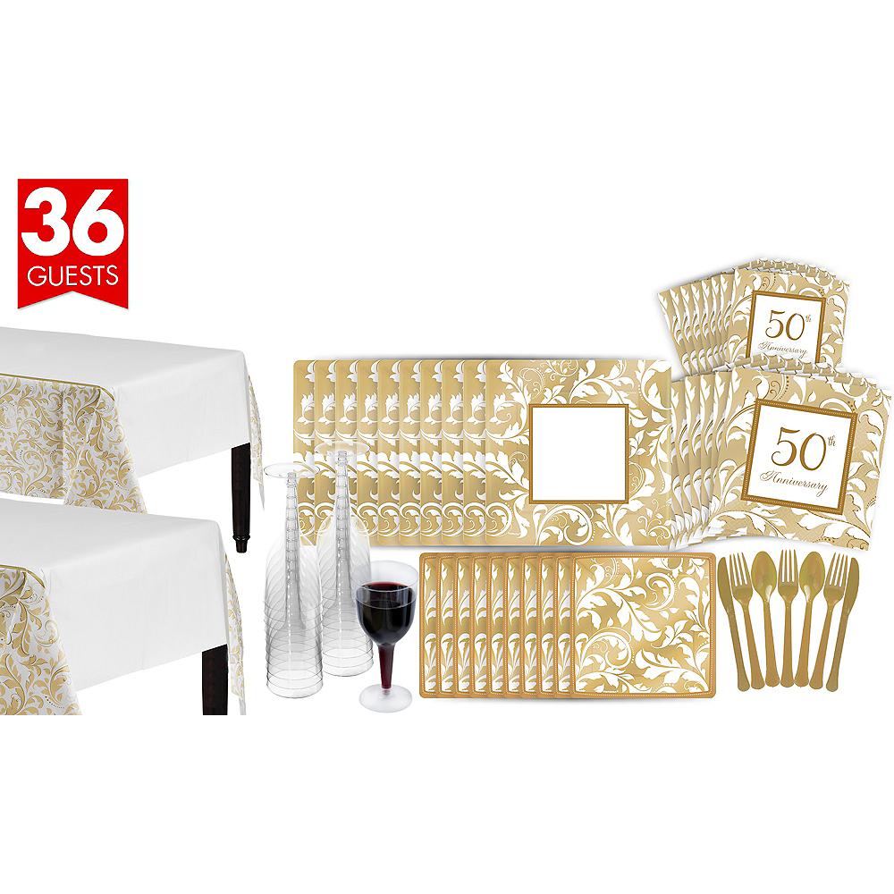 Golden Wedding Bridal Shower Tableware Kit for 36 Guests Image #1