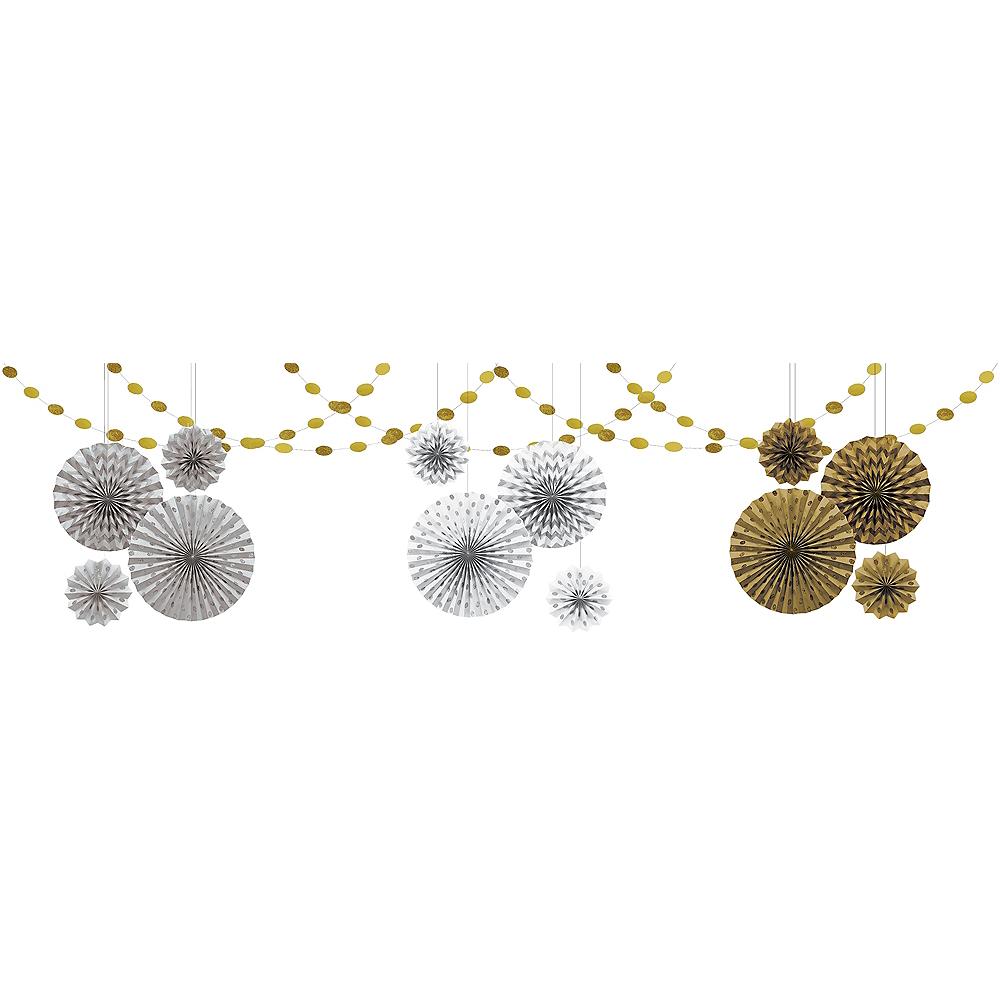 Metallic Silver & Gold Wavy Dots Bridal Shower Decorations Kit Image #1