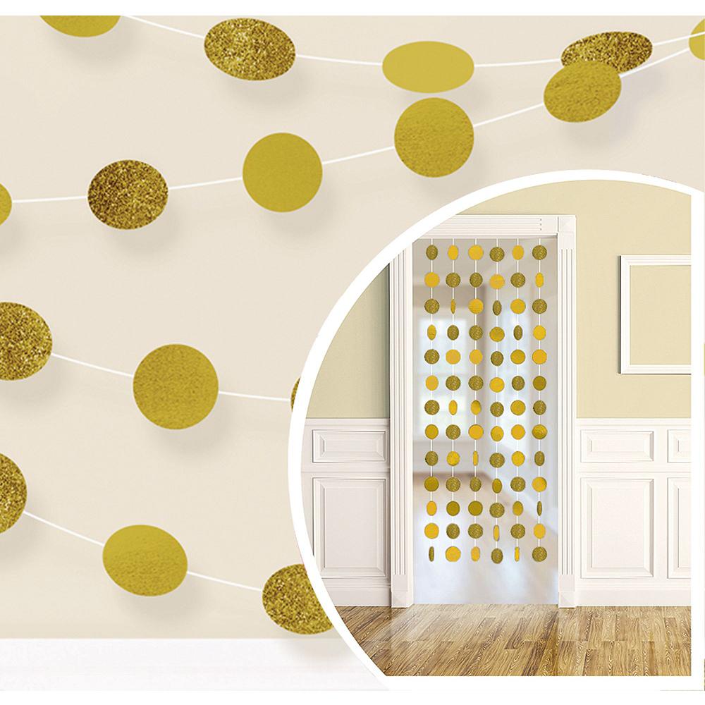 Metallic Silver & Gold Wavy Dots Bridal Shower Decorations Kit Image #2