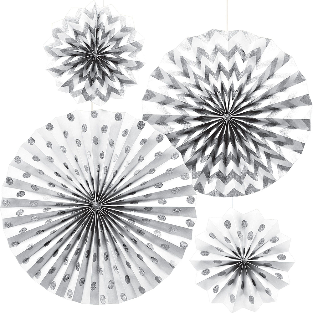 Metallic Silver & Gold Wavy Dots Bridal Shower Decorations Kit Image #5