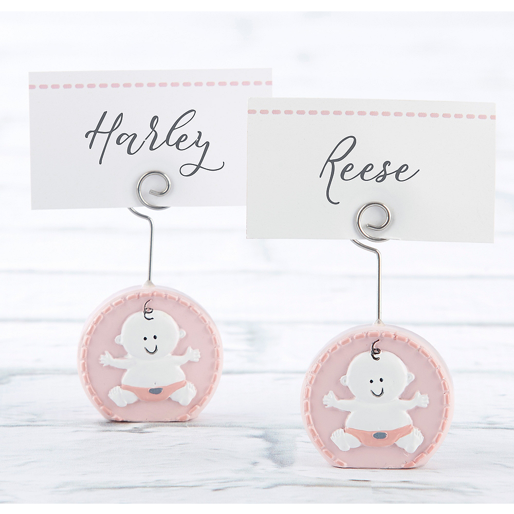 Baby Girl Pink Place Card Holders 6ct Image #1
