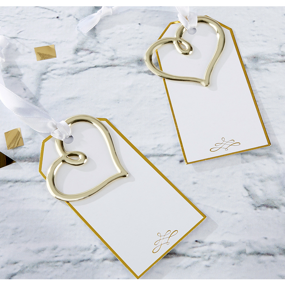Gold Heart Escort Cards 12ct Image #1