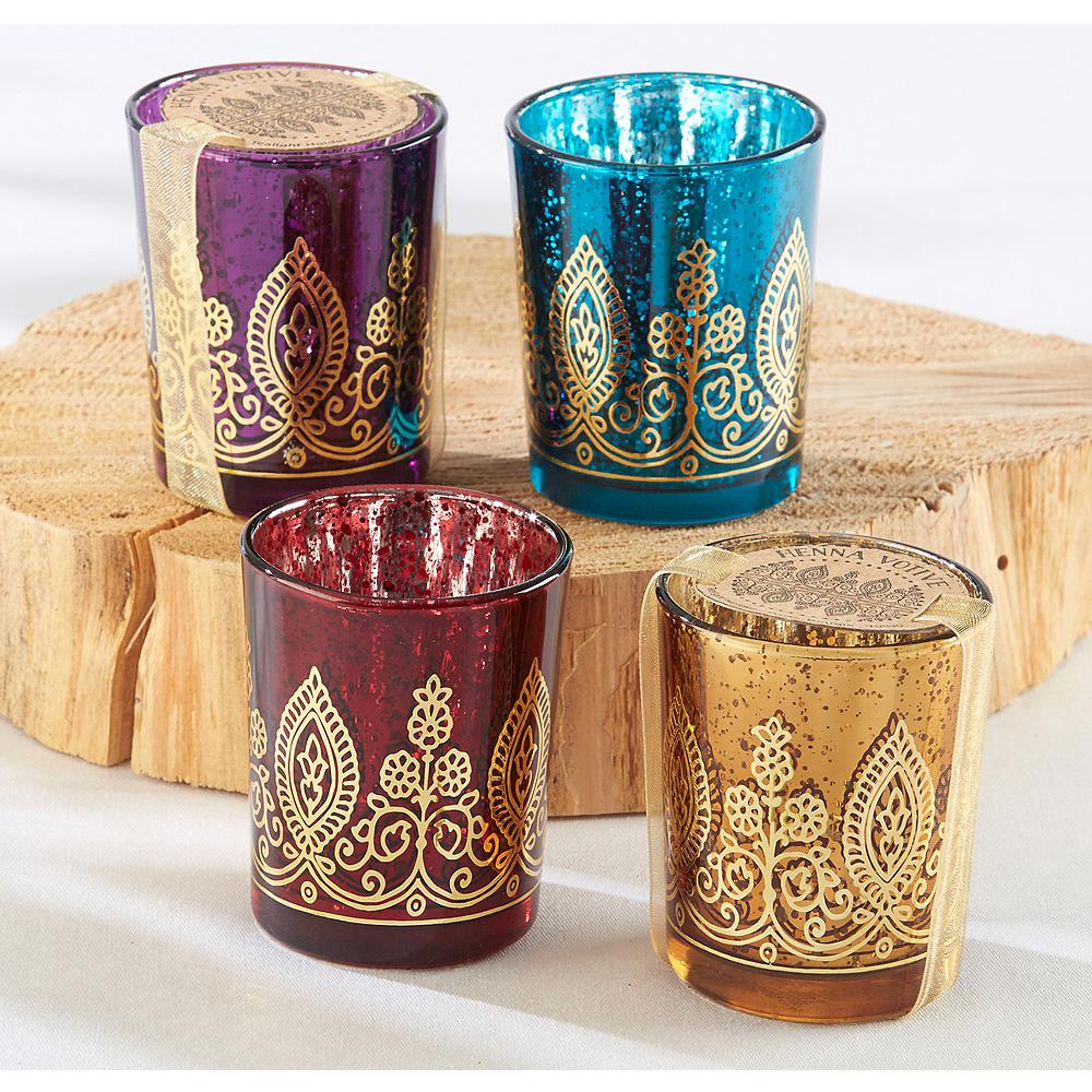 Indian Jewel Henna Votive Candle Holders 4ct Image #1