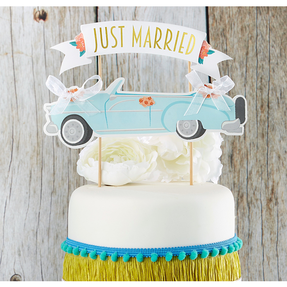 Just Married Car Cake Topper Image #1