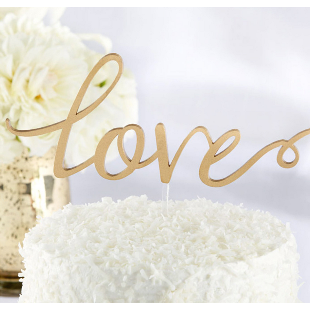 Glitter Gold Love Cake Topper Image #1