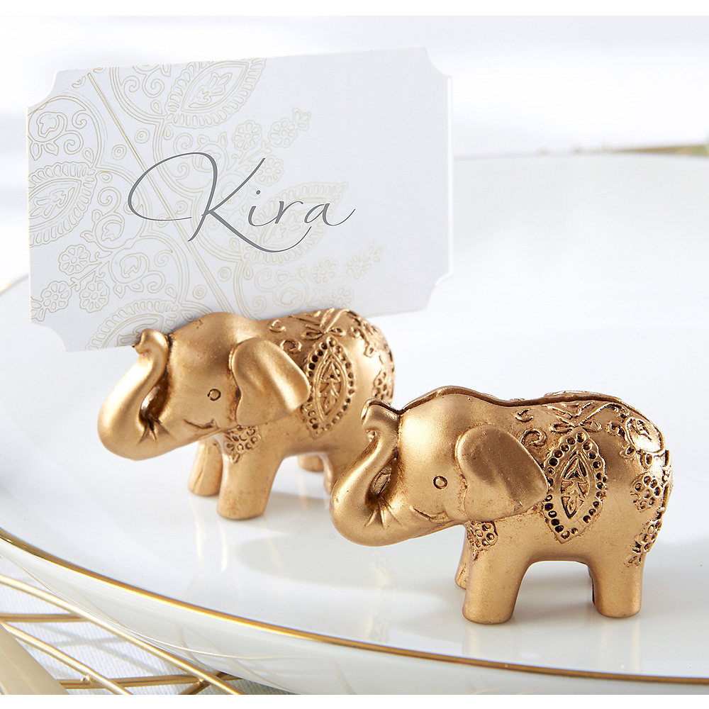 Gold Lucky Elephant Place Card Holders 6ct Image #1