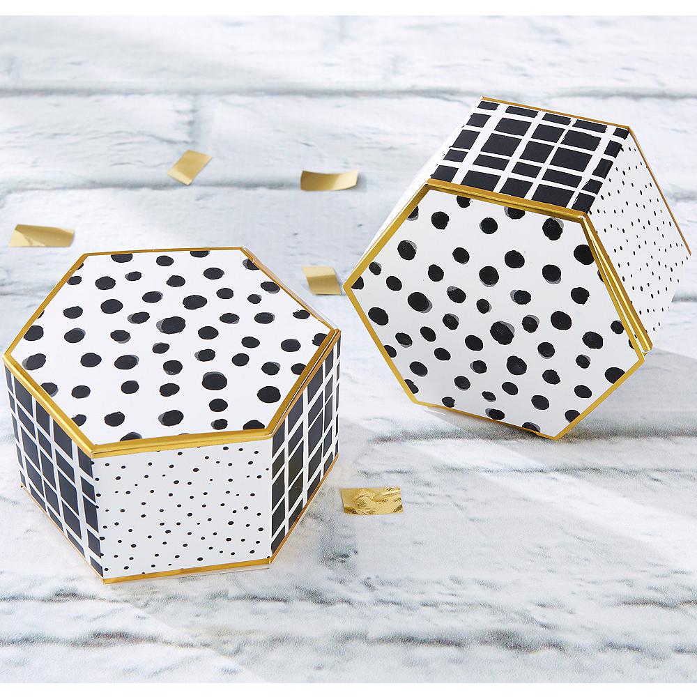 Modern Black White Hexagon Favor Boxes 12ct