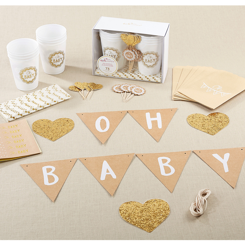 Oh Baby Rustic Baby Shower Kit 73pc Image #1