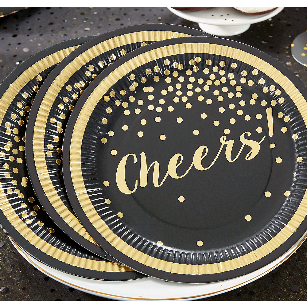 Gold Polka Dot Cheers Lunch Plates 8ct Image #1