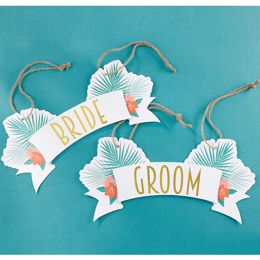 Tropical Chic Bride & Groom Chair Signs 2ct Image #1