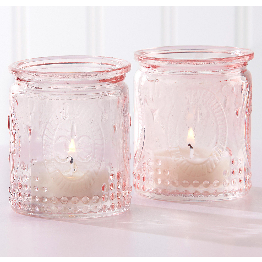 Vintage Pink Tealight Candle Holders 4ct Image 1