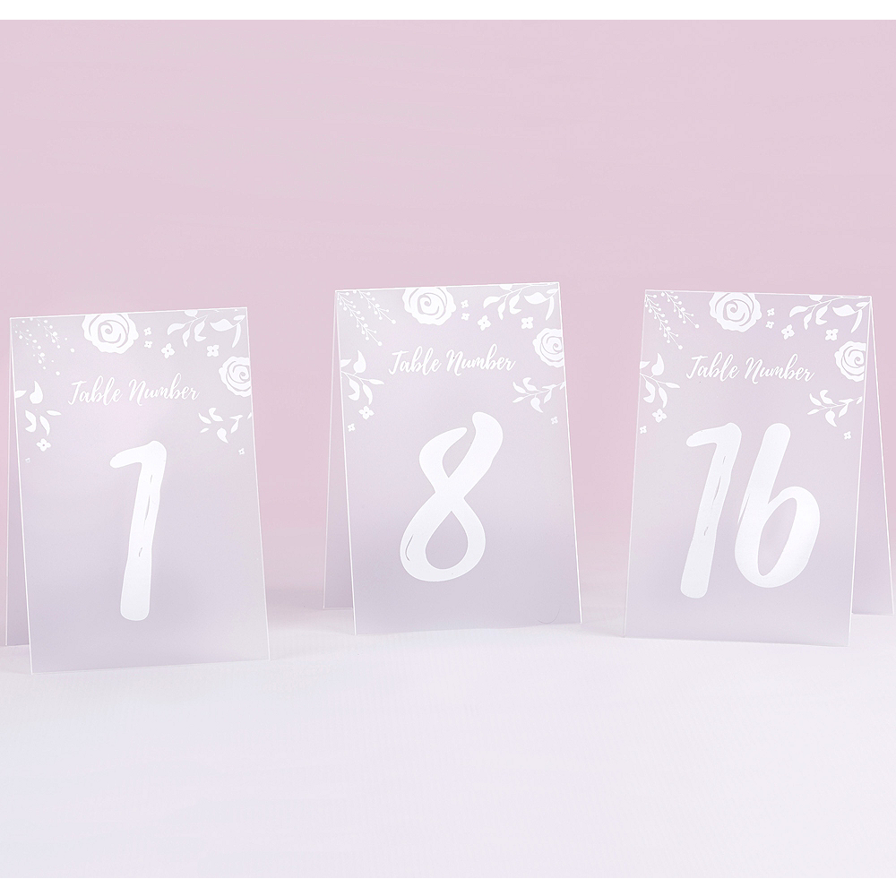 White Frosted Floral Tented Table Numbers 1-18 Image #1