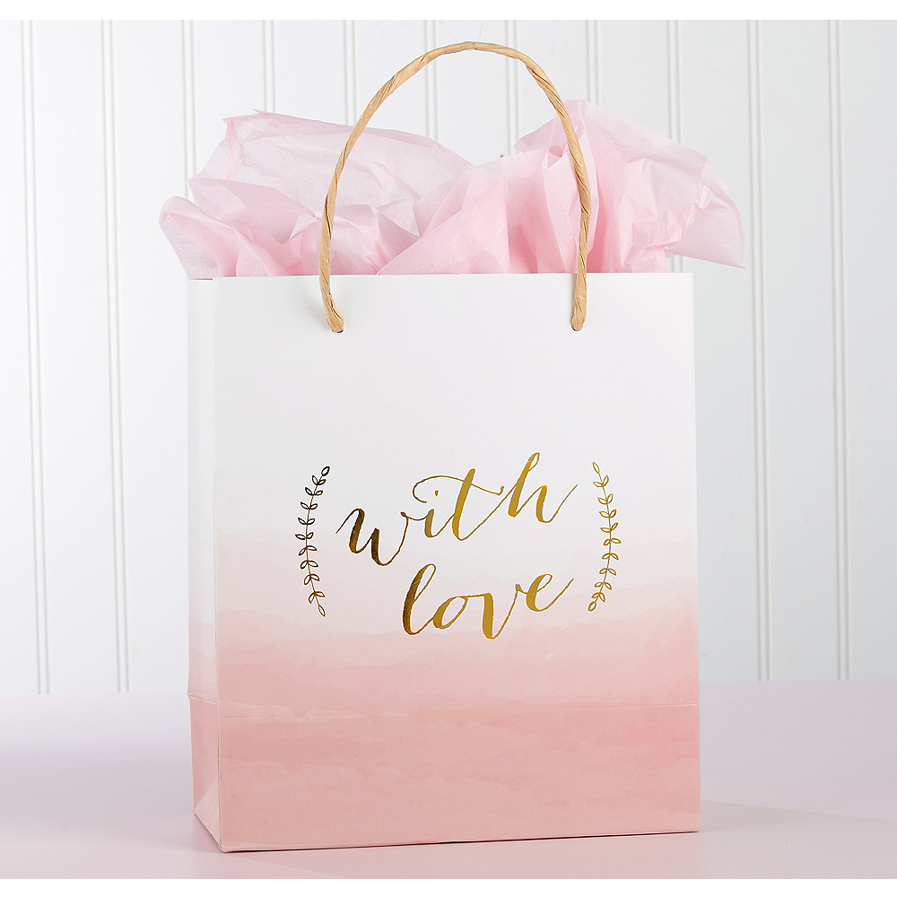 With Love Pink Watercolor Gift Bags 12ct Image #1