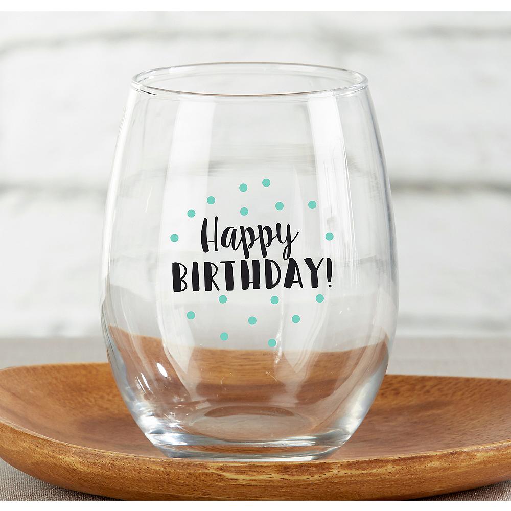happy birthday stemless wine glasses 4ct - Happy Birthday Wine Glass