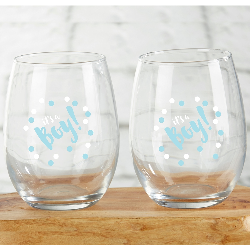 It's A Boy Stemless Wine Glasses 4ct Image #1