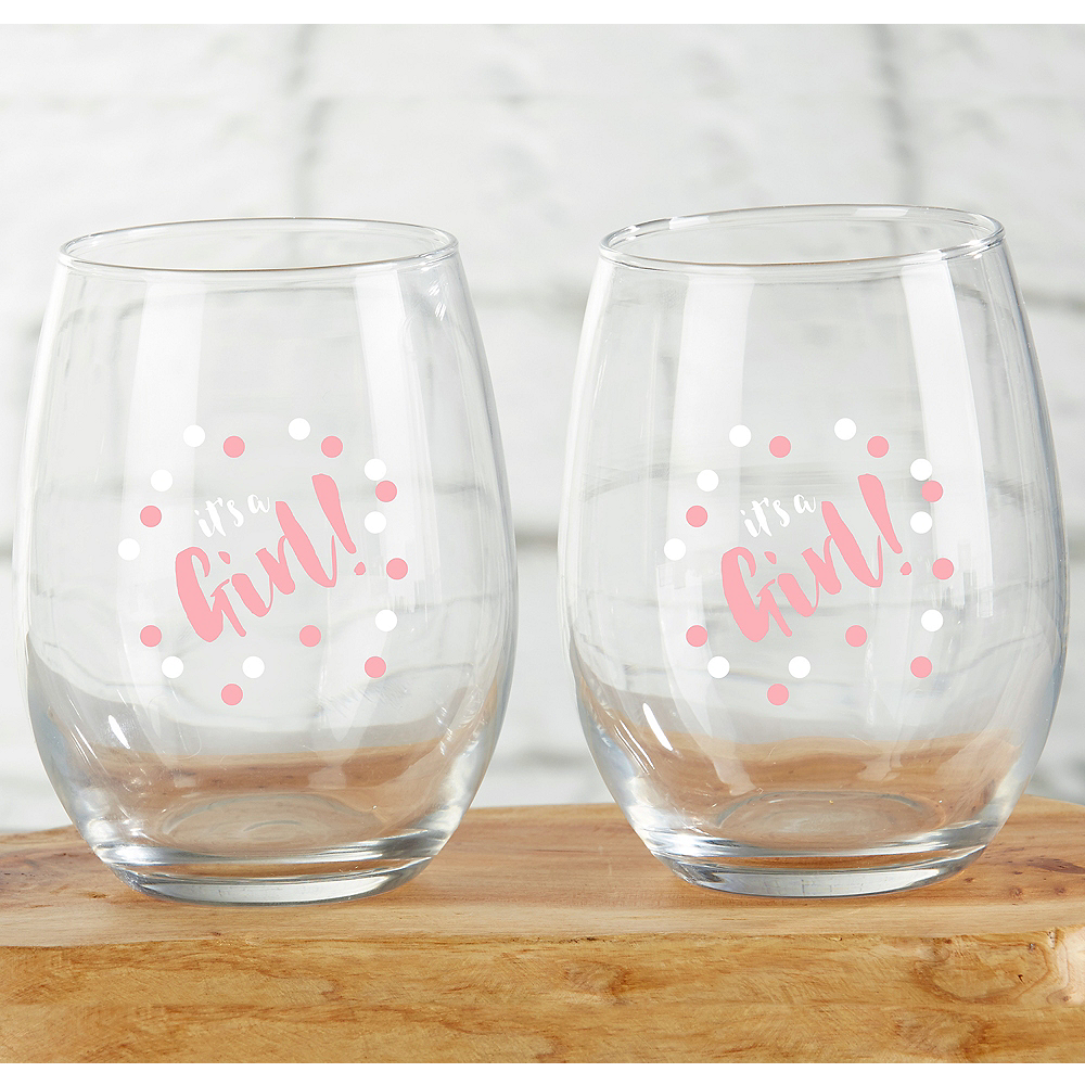 It's A Girl Stemless Wine Glasses 4ct Image #1
