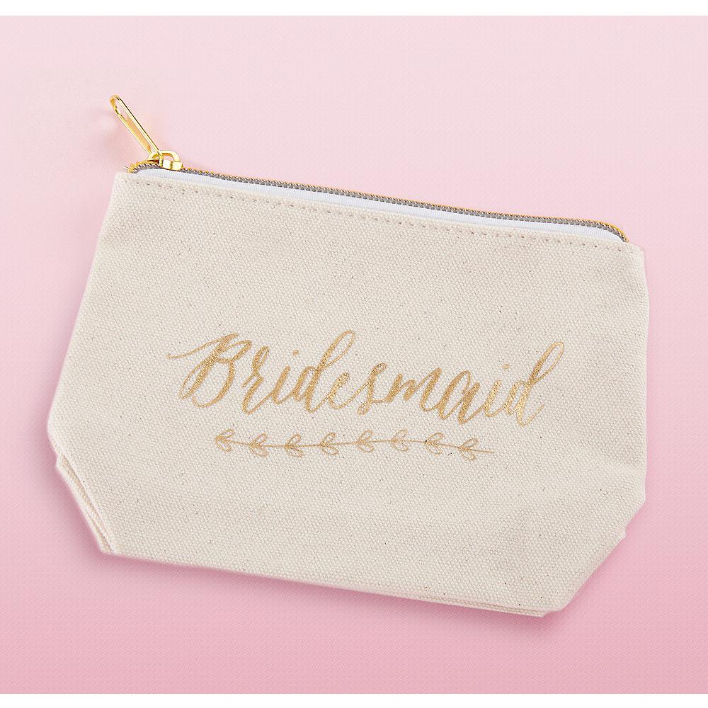Gold Foil Bridesmaid Canvas Makeup Bag Image #1