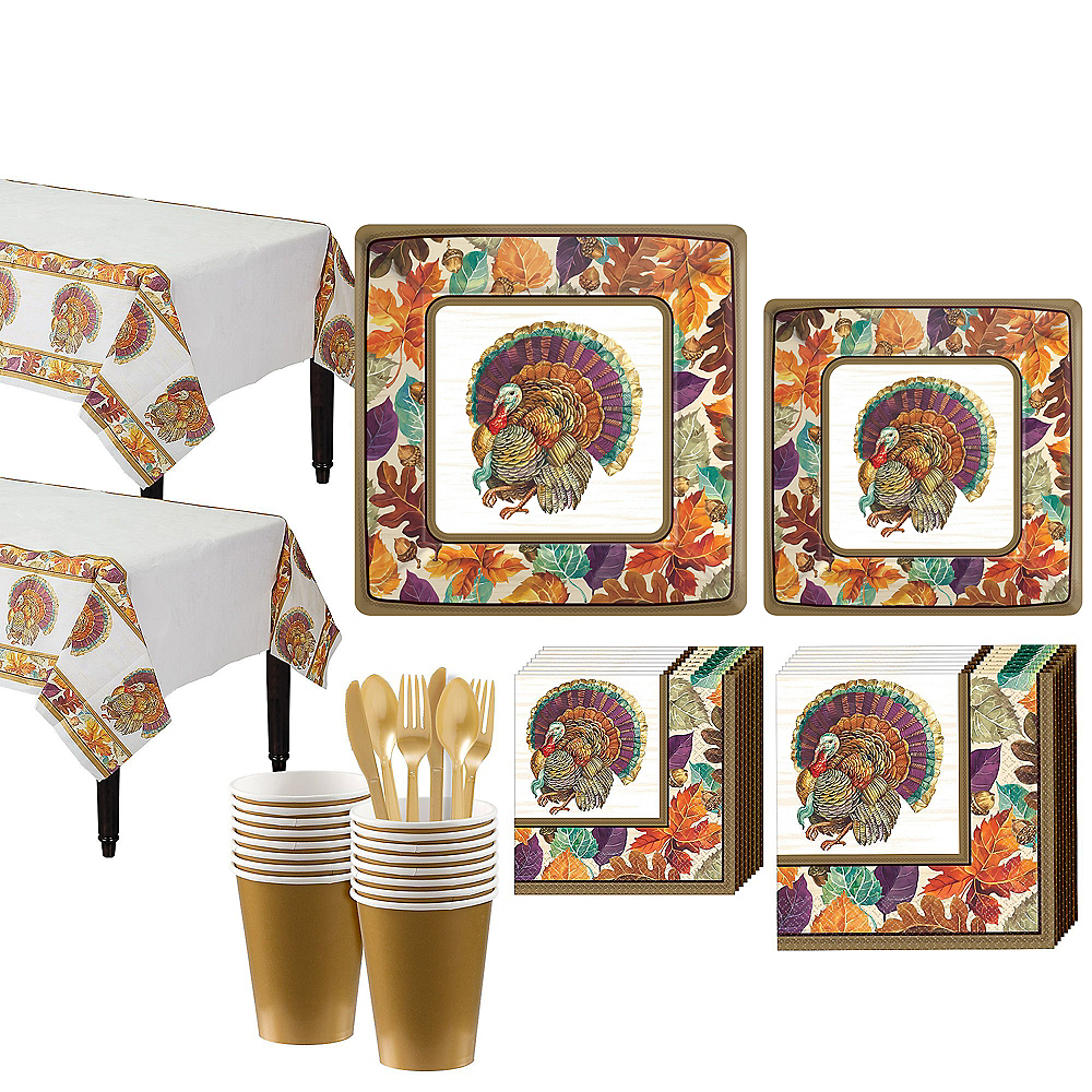 Traditional Thanksgiving Tableware Kit for 16 Guests Image #1