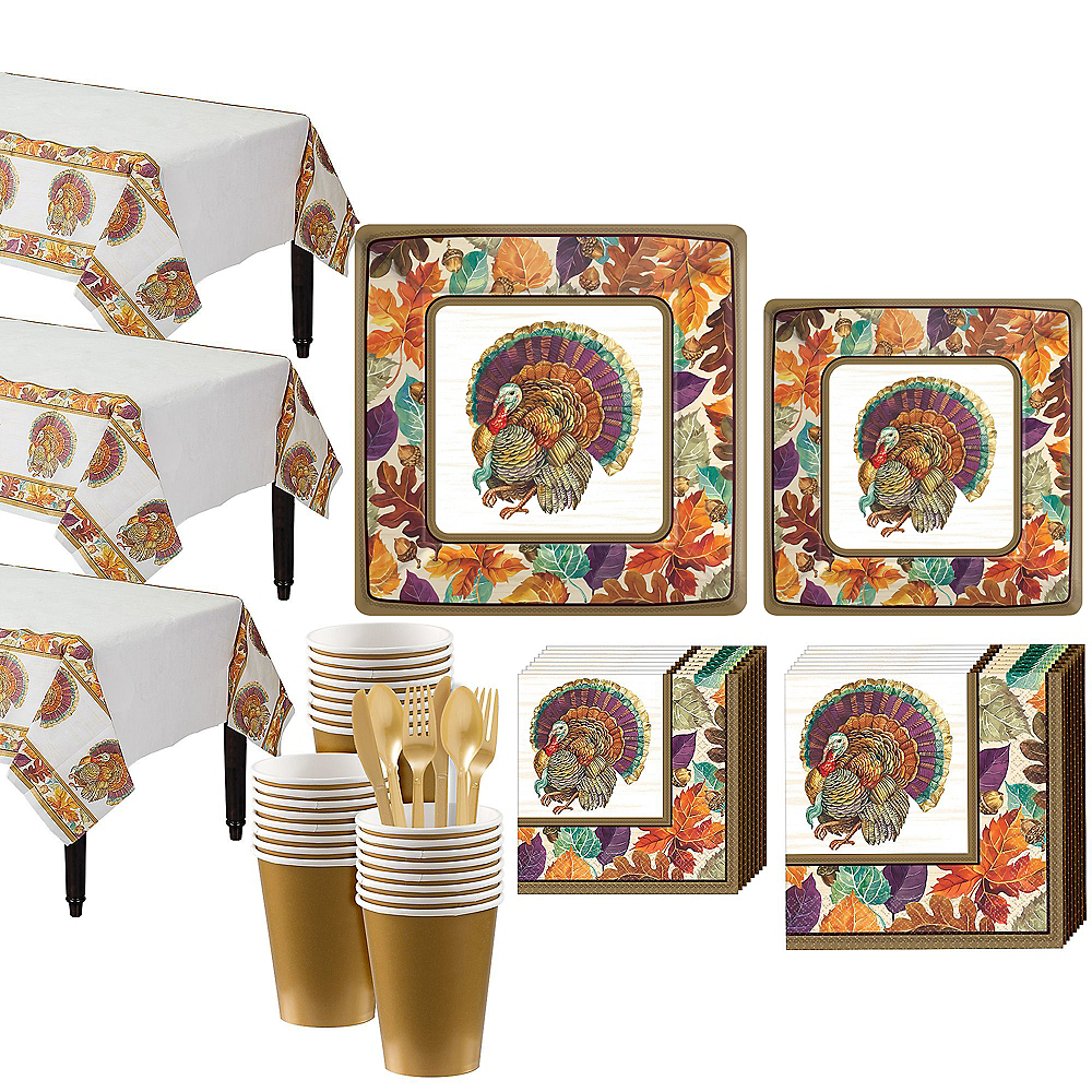 Traditional Thanksgiving Tableware Kit for 32 Guests Image #1