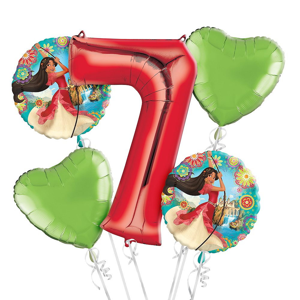 Elena Of Avalor 7th Birthday Balloon Bouquet 5pc Image 1