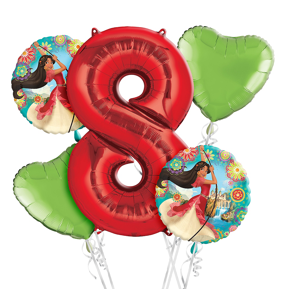 Elena Of Avalor 8th Birthday Balloon Bouquet 5pc Image 1