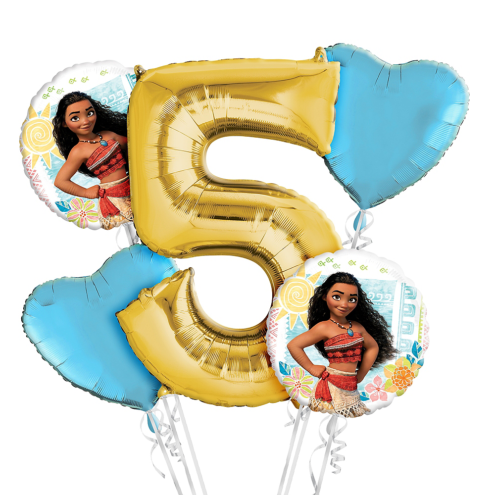 Moana 5th Birthday Balloon Bouquet 5pc Image 1