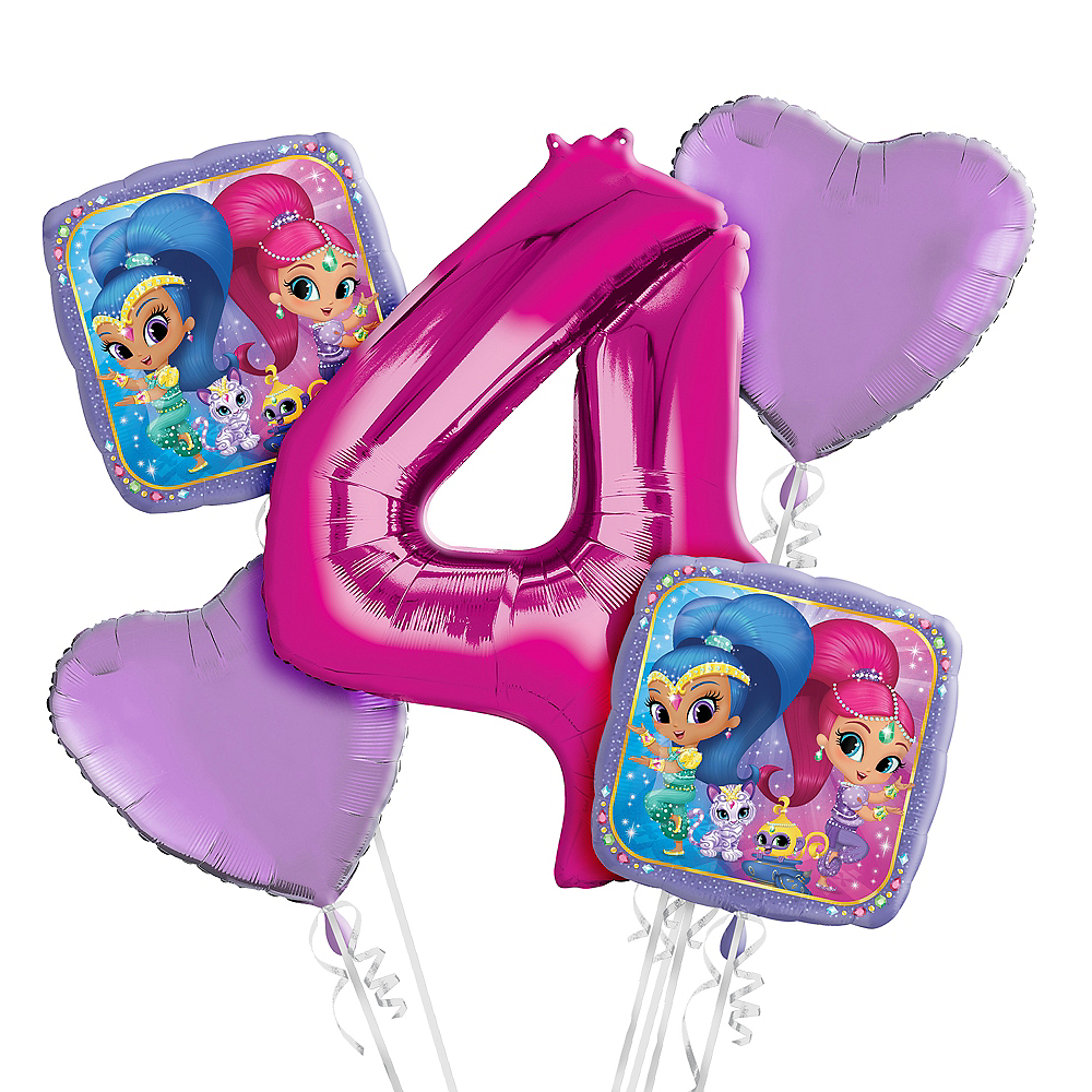Shimmer and Shine 4th Birthday Balloon Bouquet 5pc Image #1