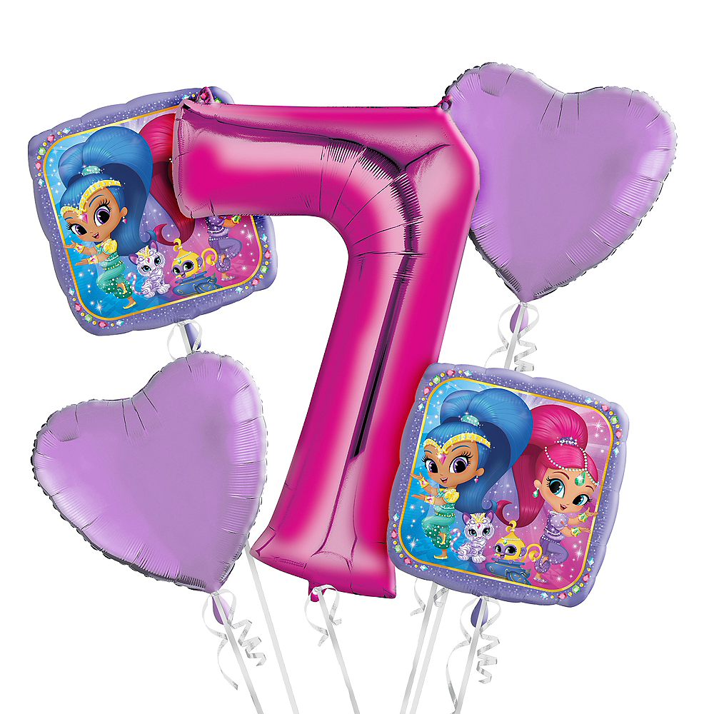 Nav Item For Shimmer And Shine 7th Birthday Balloon Bouquet 5pc Image 1