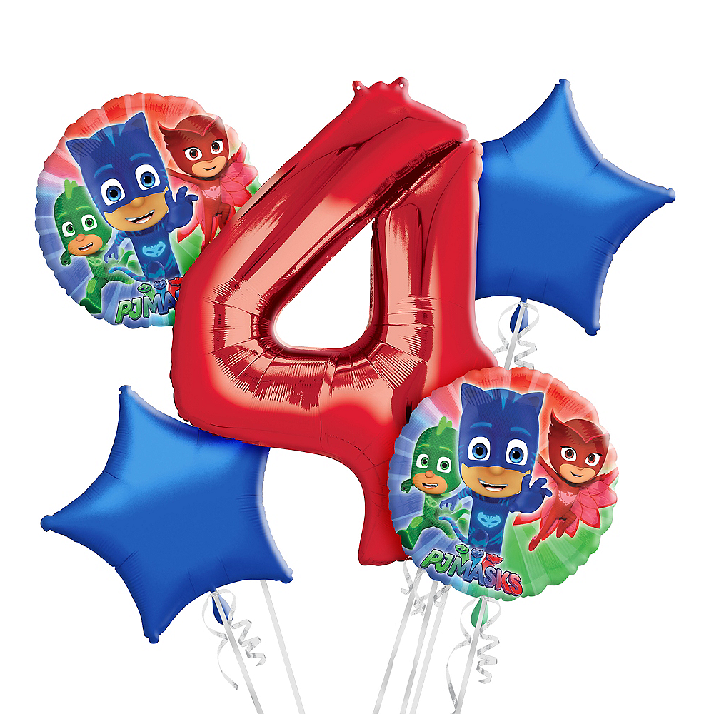 Nav Item For PJ Masks 4th Birthday Balloon Bouquet 5pc Image 1