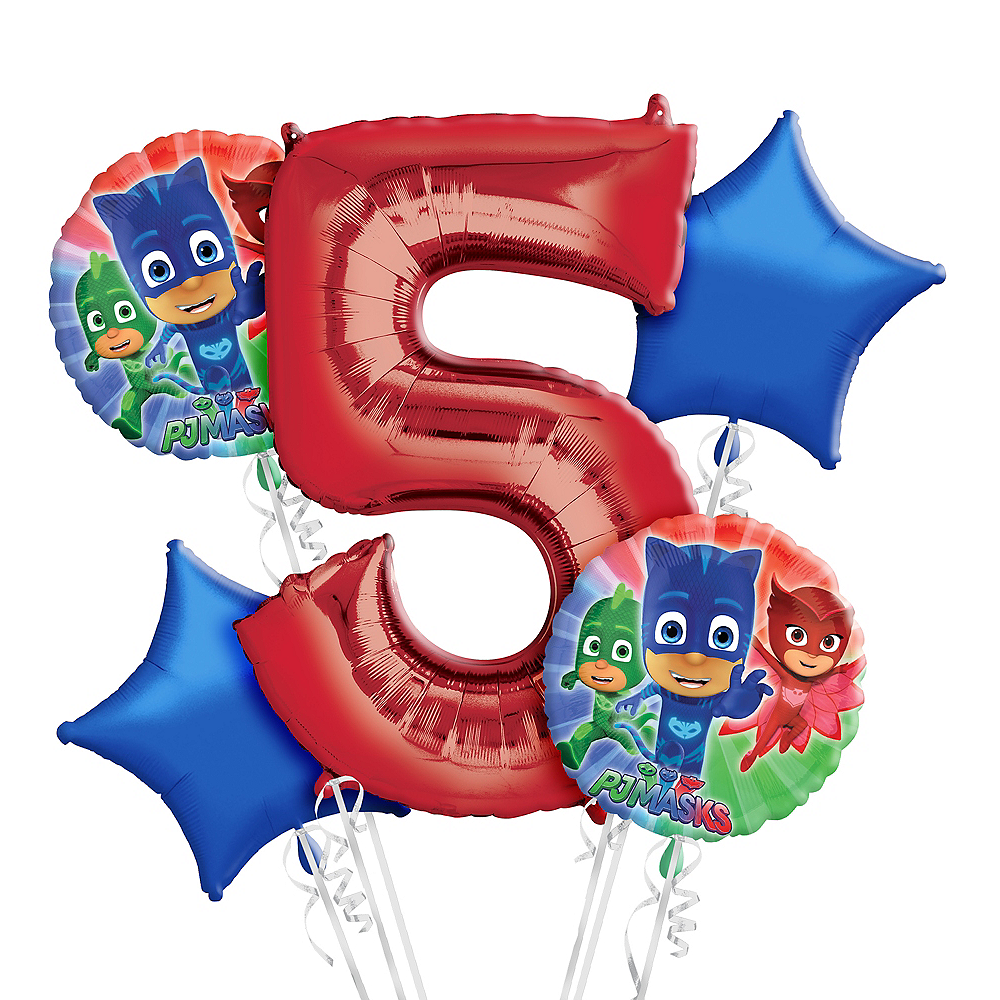 Nav Item for PJ Masks 5th Birthday Balloon Bouquet 5pc Image #1