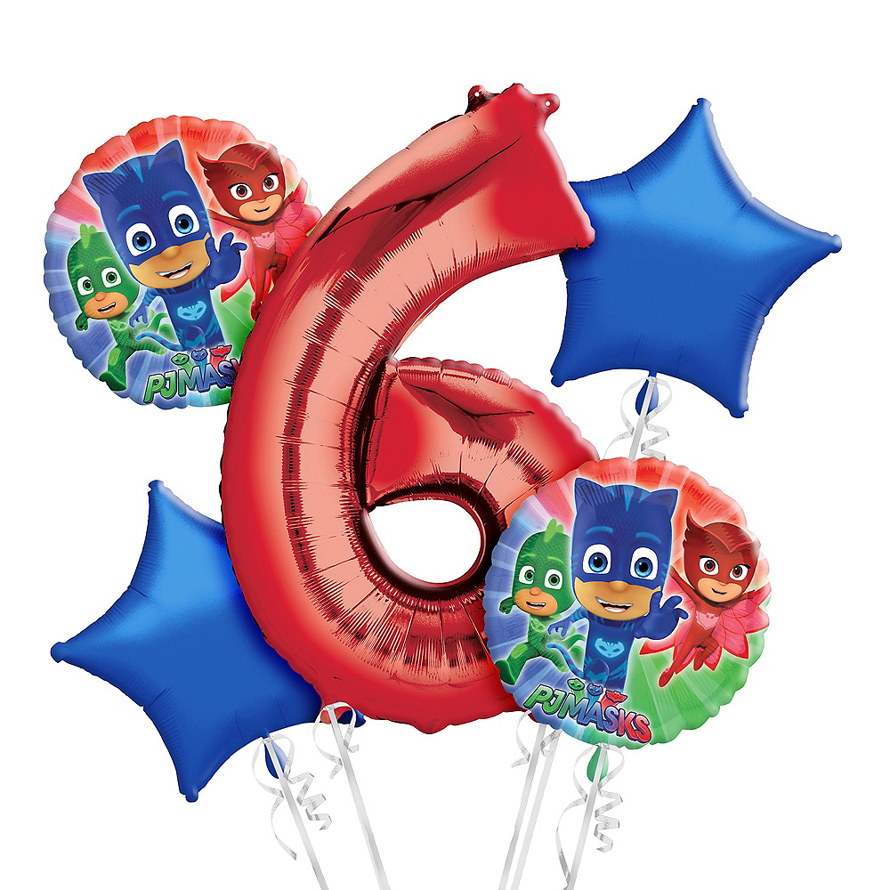Nav Item for PJ Masks 6th Birthday Balloon Bouquet 5pc Image #1