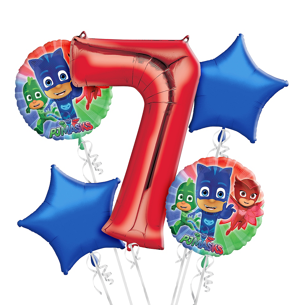 Nav Item for PJ Masks 7th Birthday Balloon Bouquet 5pc Image #1
