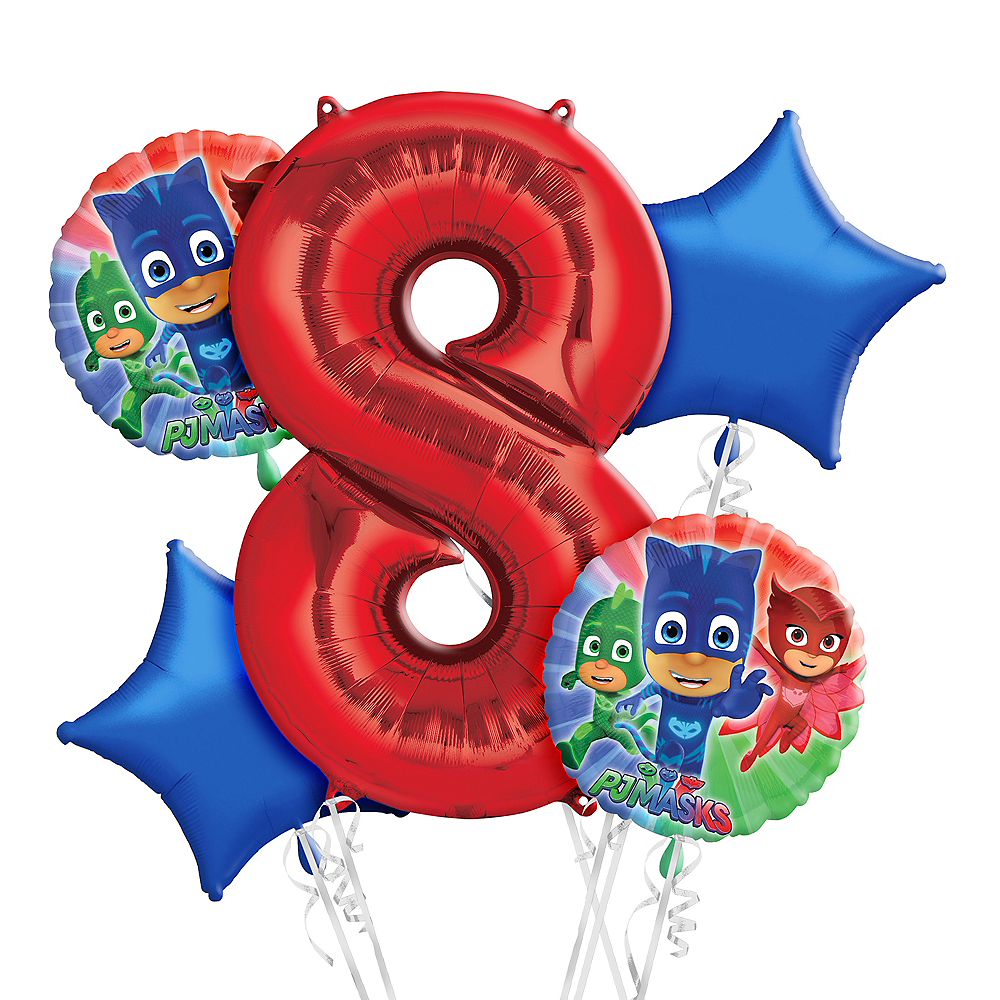 PJ Masks 8th Birthday Balloon Bouquet 5pc Image #1